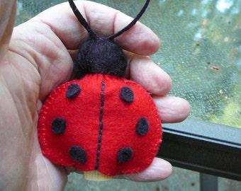 Ladybug Peg Doll, Waldorf Inspired, Small Wool Felt Ladybird