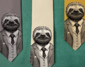 Stylish Sloth Necktie - Men's Sloth Tie - Groomsmen Necktie - Sloth Art - Men's Gift - Screen Printed Neck tie