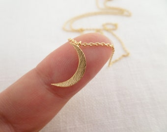Tiny Gold, Silver or Rose Gold Crescent moon necklace.... dainty and delicate, birthday, wedding, bridesmaid gift