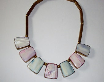 Vintage Bib Necklace Spring Summer Boho Style Brass Mother of Pearl Pink Blue Stones