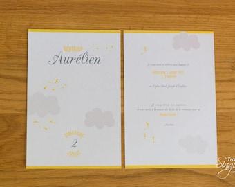 Card/invitation - Yellow cloud - baptism Theme