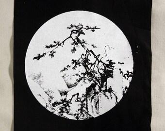 Patch - JAPANESE WOODCUT - Screenprint on Black Cotton