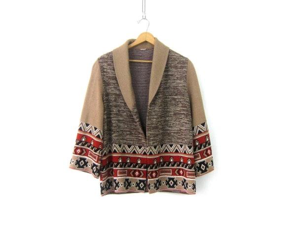 Boho Cardigan Sweater Open Fit Tribal Ethnic Sweater Vintage 70s Retro  Bohemian Sweater Tan Brown Festival Sweater Women's Medium Large