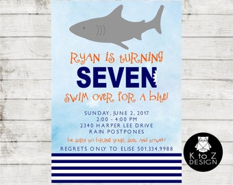 Shark Party Invitation/ Shark Bite Invitation/ Shark BIrthday Invitation/ Printable Invitation / Printed Invitations