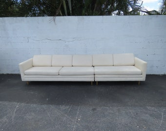Mid Century Modern Long Two Part Sectional Low Sofa Couch 8962