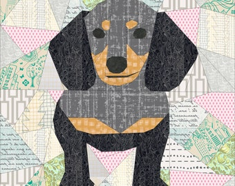 Doxie Dachshund- A Foundation Paper Pieced Dog Quilt Pattern- 20 x 20 Inch
