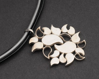 Leather Choker, Silver Leaves Pendant, Leather Strings, Black and Silver, Statement,  Bridal, Wedding