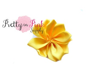 """2"""" Yellow Satin Pinwheel Flowers NO CENTER- You Choose Quantity- DIY Headband Supplies- Flower- Wholesale- By the Piece- Supply Shop"""