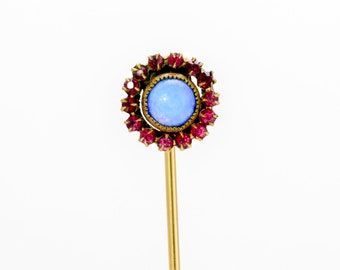 Victorian Stick Pin - 1/10-12k Gold Filled - Ruby & Moonstone **FREE SHIPPING**