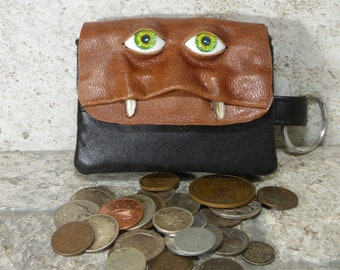 Coin Purse Zippered Change Purse Brown Black Leather Monster Face Pouch Key Ring 244