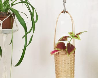 Vintage Wicker Basket with Handle : Hanging Plant Basket