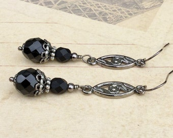 Black Earrings, Jet Black Earrings, Gunmetal Earrings, Gunmetal Black Earrings, Long Black Earrings, Czech Glass Beads, Flower Earrings