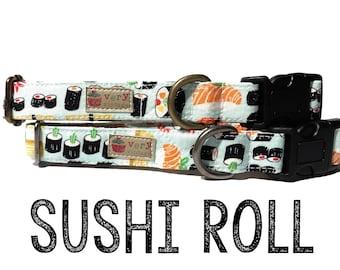 """Whimsical Light Blue Playful Japanese Sushi Fun Dog Collar - Antique Metal Hardware - """"Sushi Roll"""""""