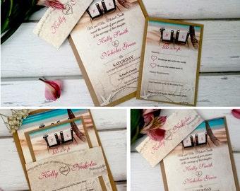 Personalised Beach Wedding Invitations With RSVP Card & Brown Kraft Envelopes