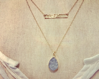 Layering necklaces - druzy crystal gemstone and skinny horizontal bar - Layered Jewelry - 14k gold filled - 2 necklaces - gray pendant