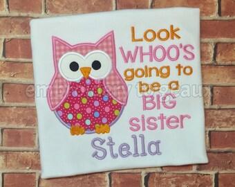 Big Sister Shirt/Announcement Shirt/Personalized Big Sister Shirt/Embroidered Big Sister Shirt/Little Sister Shirt/Big Sister to be Shirt
