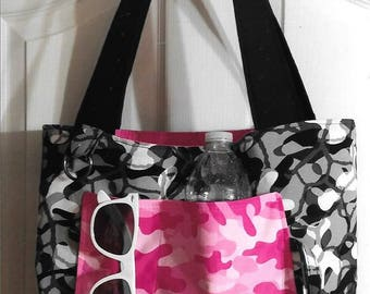 Pink & Black Camouflage Reversible Tote Bag