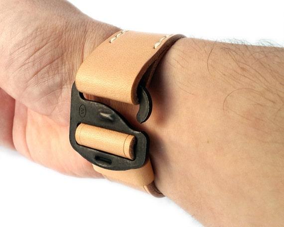 Handmade Military Style G-Hook Leather Bracelet, Mens Bracelet, Personalized Bracelet, Custom Bracelet