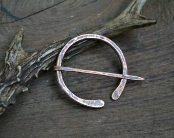 Shawl pin, simple shawl pin, penannular brooch, copper pin, Anglo-Saxon pin, AngloSaxon pin, penannular shawl pin, recycled copper shawl pin