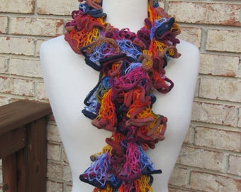 Dark blue and orange ruffle scarf