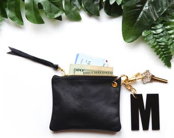 Personalized Gift for Women Genuine Leather Wallet for Her Bridesmaids Gifts Business Card Case Metallic Gold Keychain