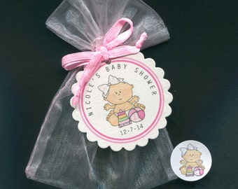 Personalized Baby Girl Baby Shower Favor Candy Bags, Baby Girl With Toy And Ball, Includes Tags Candy Stickers Pink Organza Bags, Set Of 20
