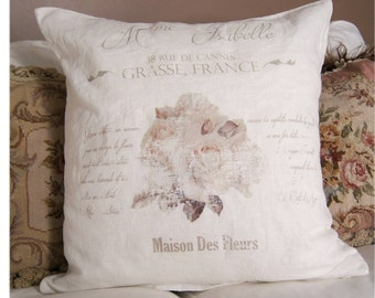 French Pillow Cover. French Country Pillow Cover. Shabby Chic Pillow. Gift Her. French Antiques. Spring Decor. French Linen.
