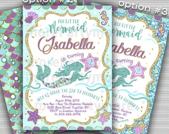Mermaid Invitation, Mermaid Birthday Invite Teal Purple Gold Sparkle, Under The Sea Invitation Mermaid Party, Summer Invitation Printable