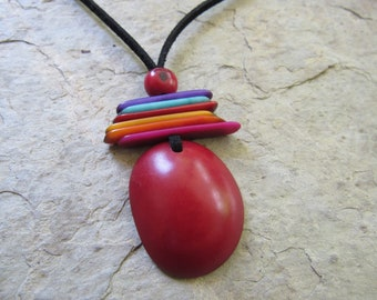 Red Tagua Necklace, Ecofriendly Necklace, Tagua Nut Necklace, Pendant Necklace, Boho Necklace, Tagua nut jewelry