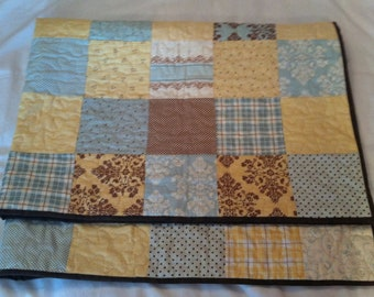 Hand Made Baby Quilt - Lap Quilt - Scrappy Block -  Moda Lily & Will II