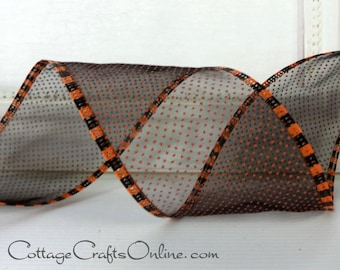 "Halloween Wired Ribbon, 2 1/2"" Black Sheer with Orange Pindots, Striped Edge - THREE YARDS -  ""Halloween Pin Dot"" Wire Edged Ribbon"