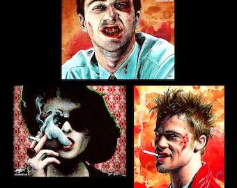 "Prints 8x10"" - Fight Club - Tyler Durden Edward Norton Cult Project Mayham Brat Pitt Blood Chuck Pahahniuk Violence Dark Pop Marla Singer"