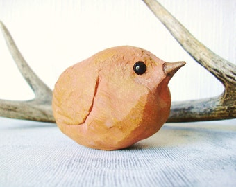 Rustic Woodland Wren Stoneware Clay Paperweight Sculpture