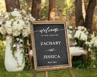 Personalized Wedding Welcome Decal, Welcome to our Forever Decal, Wedding Sign, Elegant Wedding Sign, Wedding Vinyl Decals