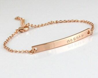 Silver/ Gold/ Rose Gold Bracelet - Name / Initials/ Date Bracelet - Custom Bracelet - Hand Stamped- Couples Bracelet - Gold Plated