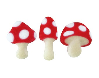 Toadstool Sugar Decorations, Cake Decorating Supplies, Toadstools, Mushroom Cupcake Toppers, Candy Making, Birthday Party, Cookie Decorating