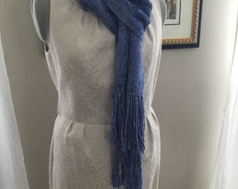 Handwoven Bulky Rayon Chenille Scarf In Sapphire