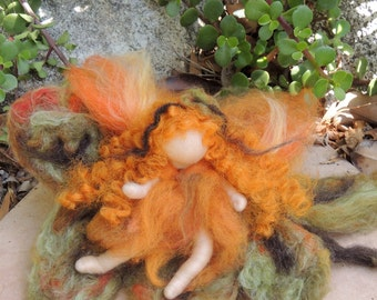 The Oak Fairy Maiden with her Oak Leaf from the woods - Waldorf-inspired needle felted standing doll soft sculpture by Rebecca Varon autumn