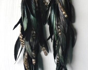 Long Feather Earrings, Black Feathers, Bohemian Jewelry