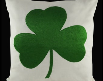 "Embroidered Decorative Pillow Cover - Shamrock - St Patricks Day - Fits 18""x18"" Insert - Natural (READY TO SHIP)"