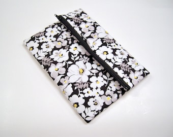 Black and White Floral Fold Over Clutch