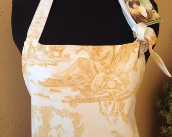"""TOILE Gold Apron: """"WINE COUNTRY"""" /Holiday/ Wedding Gift / Bridal Shower / Couture Hostess Gift / Party Apron / by Sicilian Gypsy"""