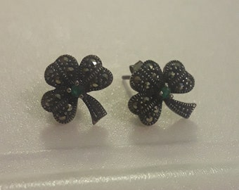 Irish Silver Shamrock Earrings