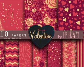 Valentine paper. Valentines paper. Valentine's day. Love digital paper. Valentine's paper. Digital valentine. Heart paper. Red