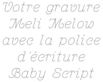 Your engraving font Baby Script writing