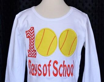 100 Days of School Softballs Applique Shirt or Bodysuit Boy or Girl