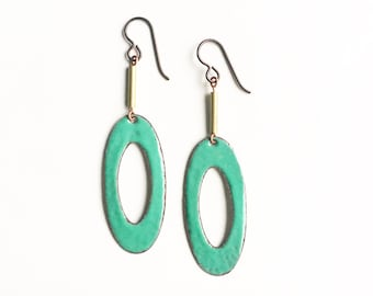 Aqua Enamel Earrings