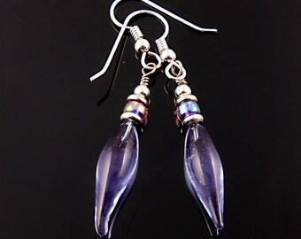 Lampwork Earrings Lavender - Handmade - Artisan