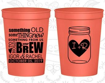 Plastic Cups, Wedding Cups, Stadium Cups, Personalized Cups, Custom Wedding Cups, Plastic Wedding Cups, Wedding Favors, Mason Jar (C01)