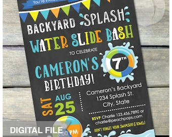 "Splash Water Slide Waterslide Bash Birthday Party Invitation Chalkboard Style Boy or Girl - Blue - DIGITAL Printable Invite - 5"" x 7"""